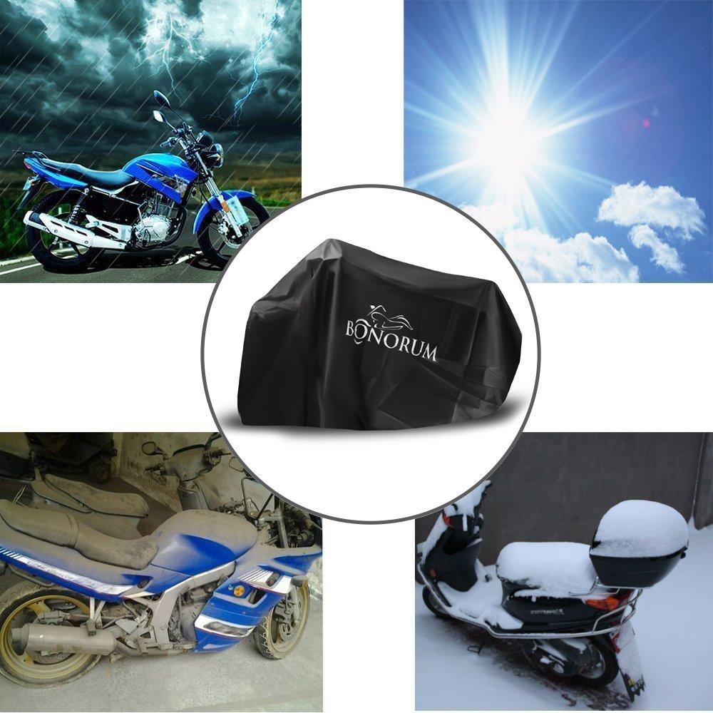 Housse de moto de prime faite de mat/ériel 190 T r/ésistante /à la d/échirure carburant 2 voies verrouillable et prot/ég/é du vent- protection parfaite contre la pluie et le soleil XL