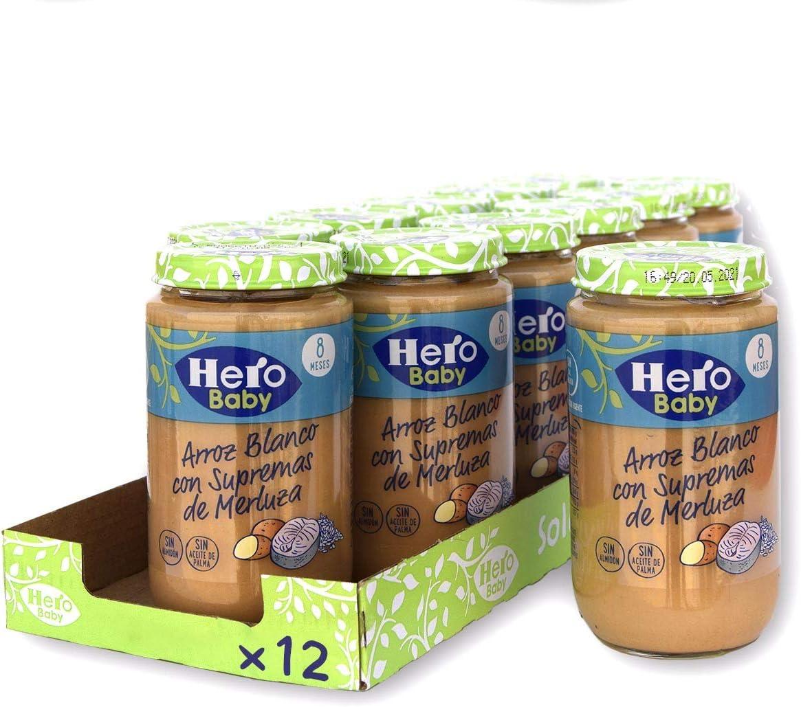 Hero Baby - Tarrito de Arroz Blanco con Supremas de Merluza, Ingredientes Naturales, para Bebés a Partir de los 8 Meses - Pack de 12 x 235 g: Amazon.es: Alimentación y bebidas