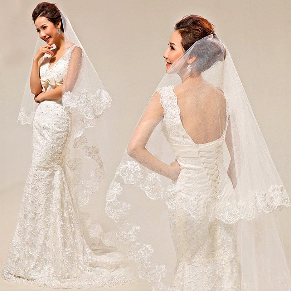 Bridal Veils, 102 Inch Lace Appliques Wedding Veil Women's Bridal Wedding Veil Bride Accessories, White
