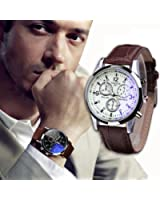 Han Shi Quartz Analog Watches, Fashion Mens Bussiness Luxury Faux Leather Ray Glass Wristwatch