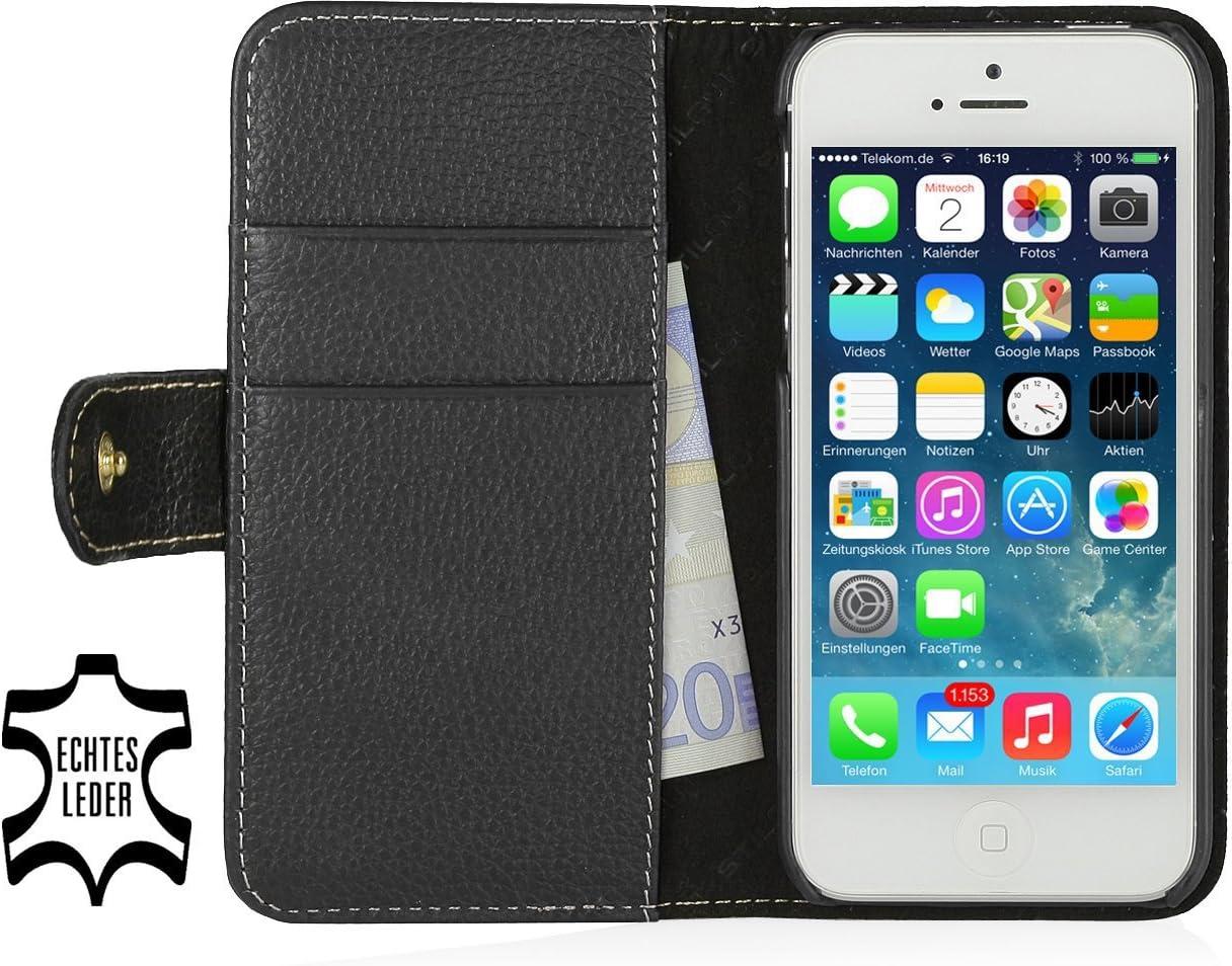 StilGut Funda de Cuero Genuino Talis Book Type para Apple iPhone SE de Cuero Original con Compartimiento para Tarjetas de crédito y de Visita, Negro: Amazon.es: Electrónica