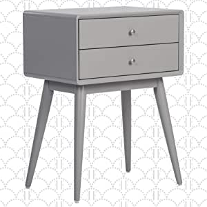Elle Decor Rory Mid Century Side Table Modern Accent Bedside Nightstand Two Drawer Gray Furniture Decor
