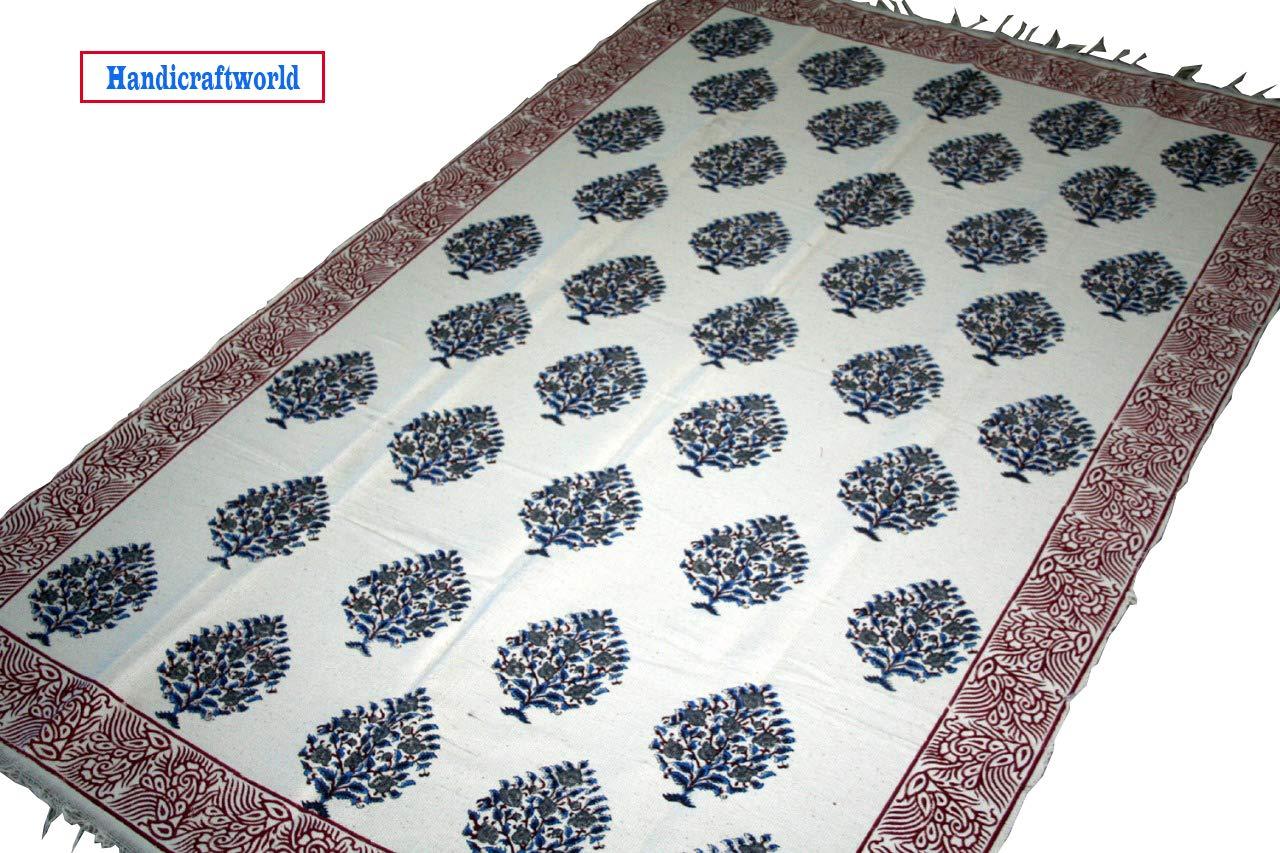 Block printed home decor dhurrie pure cotton area rug vintage carpet floor decor