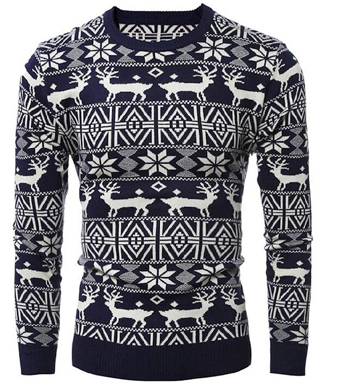 JXG Men Pullover Knitted Crew Neck Long Sleeve Thick Christmas Printed Sweater