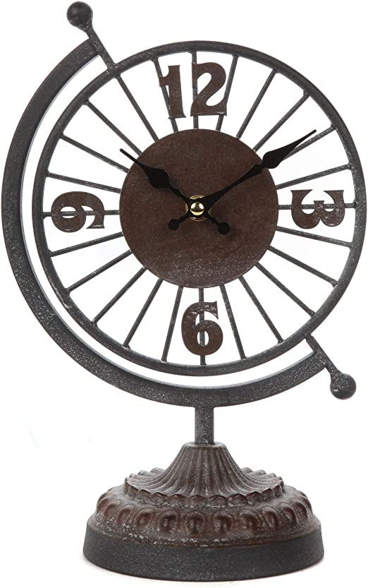 White Cast Iron Antique Style Wall Clock Rustic Indoor Outdoor Home Art Decor