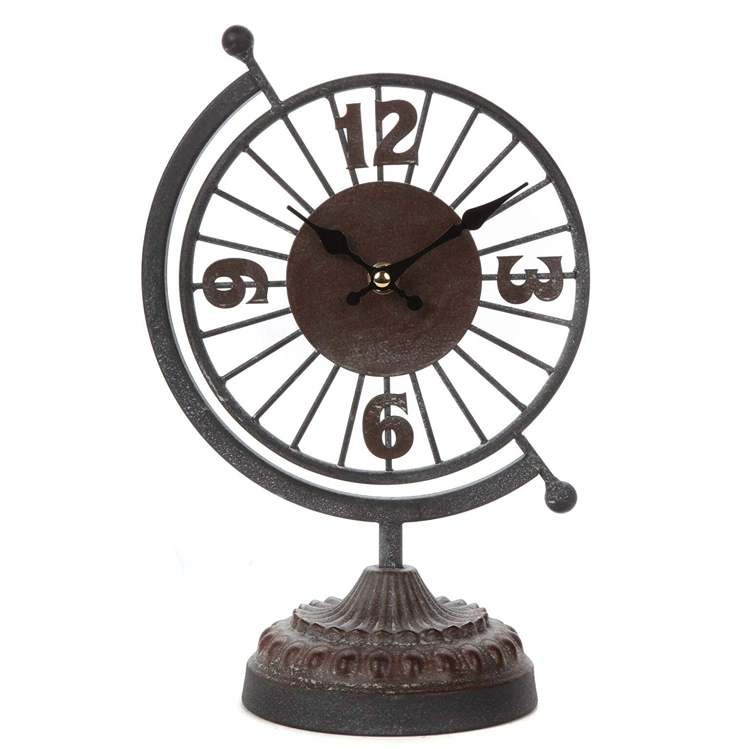 Lily's Home Rustic Desk Tabletop Clock for Bedroom, Quite Movement, Unique Vintage Home Decor with Numbers