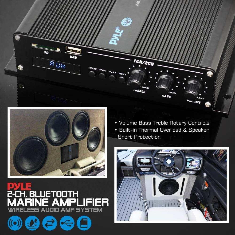 2-Channel Bridgeable Compact 200 Watt RMS 4 OHM Full Range Monoblock Stereo /& Waterproof PFMRA340BB Sound Around Pyle Home Marine Car Amplifier Wireless Bluetooth Receiver Audio Speaker w// LCD Digital Screen