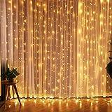 Cortina de Luces, Fenvella LED Luces de Cortina Carámbano de Blanco Cálido con 8 Modos de Luz Perfecto para Decoración de Navidad, Festival,Fiestas, Casa,Jardín,Boda,etc