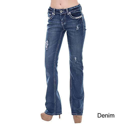 Sexy Couture Women's S96-PB Mid Rise Flare Bottoms Boot Cut Jeans