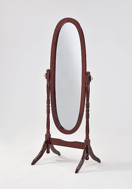 Amazon.com: Wooden Cheval Floor Mirror, Cherry Finish by ...