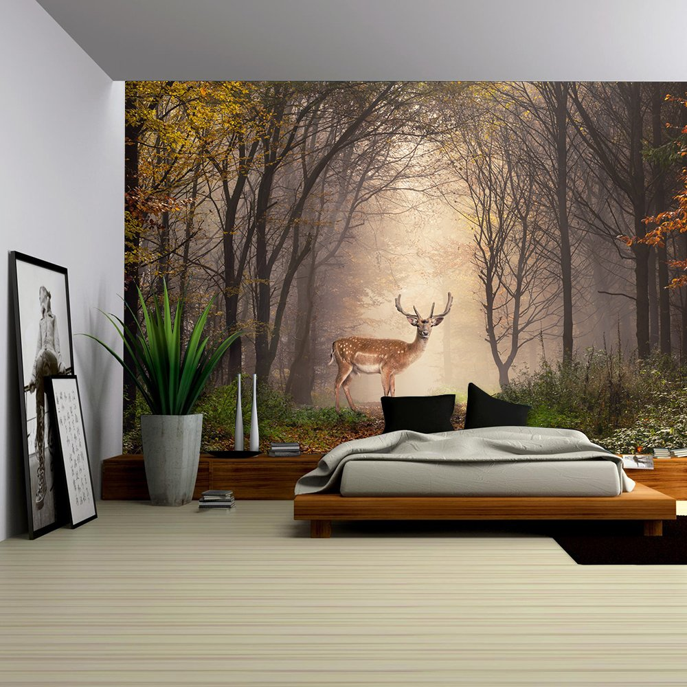 wall26 - Fallow Deer Standing in a Dreamy Misty Forest, with Beautiful Moody Light in the Middle and Framed by Darker Trees - Removable Wall Mural   Self-adhesive Large Wallpaper - 66x96 inches