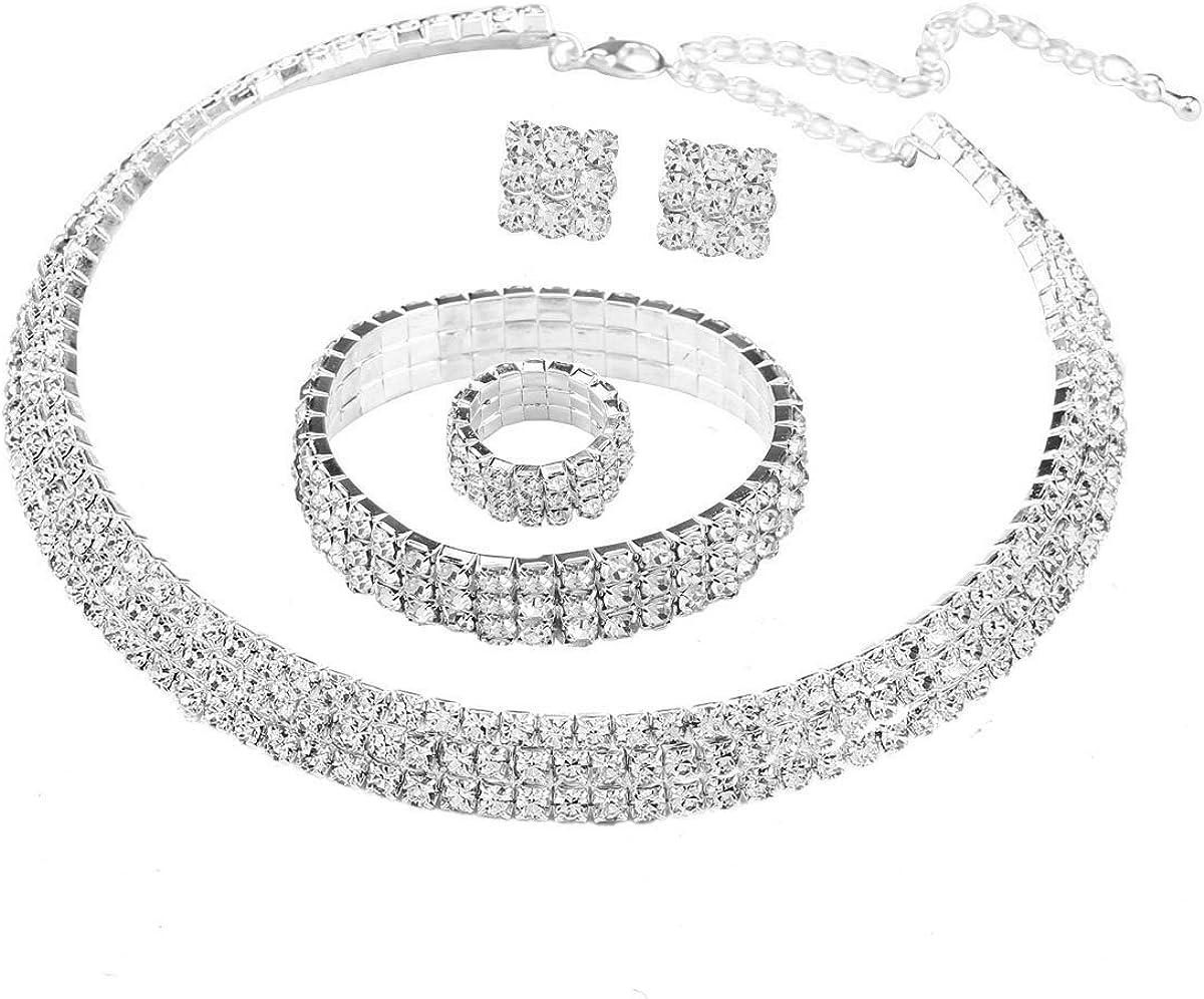Conjunto de joyas con collar, pulsera y pendientes, de Satfe, gargantilla chapada en plata con 3 filas de diamantes de imitación, conjunto nupcial