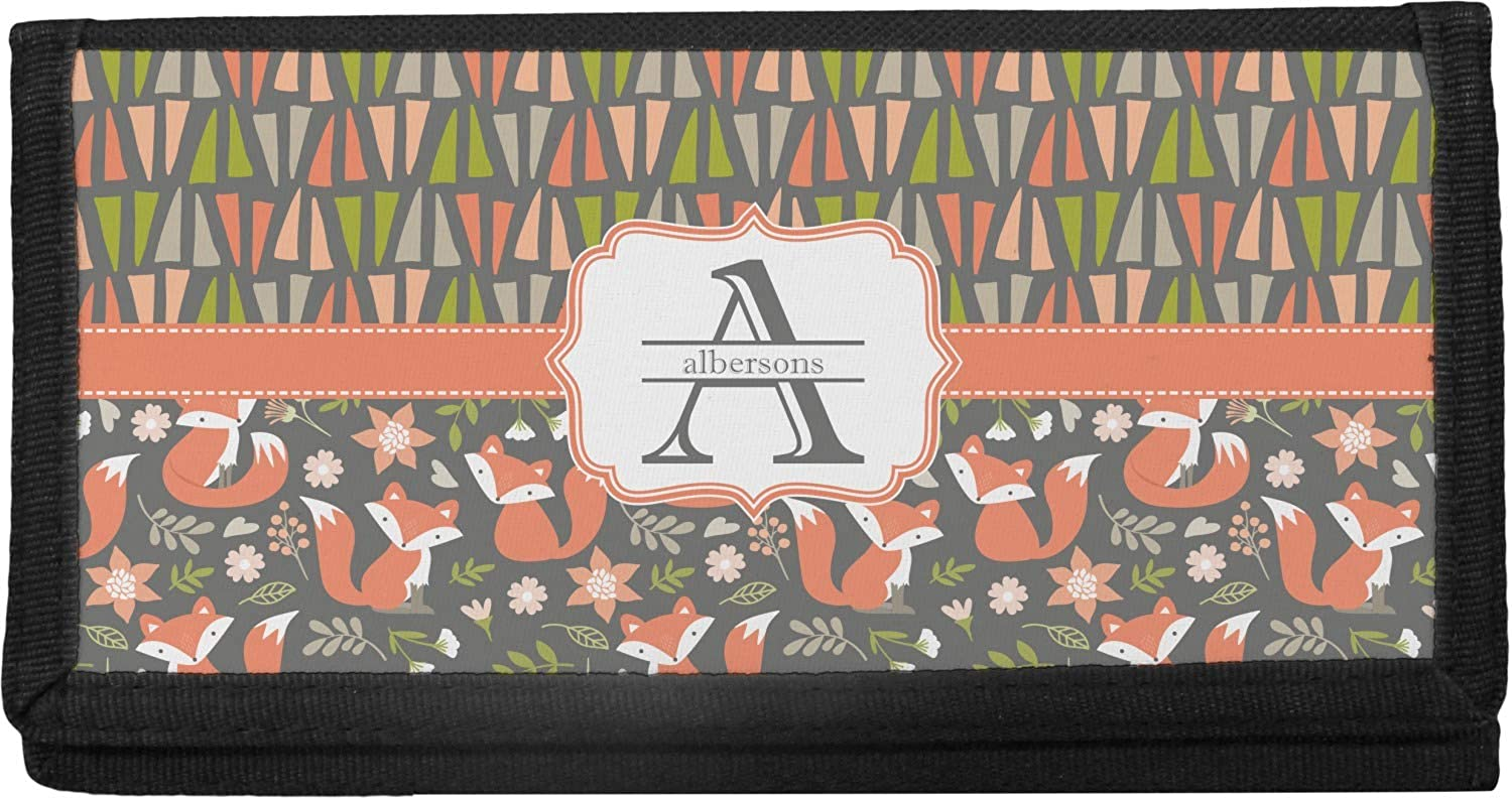 Personalized Fox Trail Floral Canvas Checkbook Cover