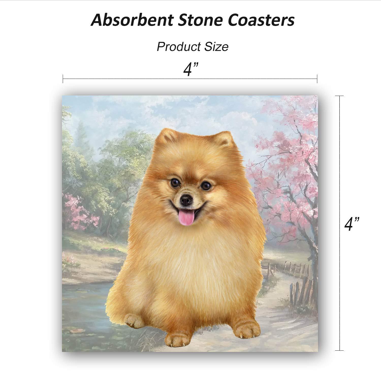 Pomeranian Tabletop Drink Coaster (1) 1