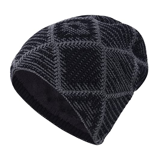 397655aedd7 Image Unavailable. Image not available for. Color  iShine Winter Windproof  Lined Thick Knitting Skull Cap Wool Warm Slouchy Beanie Hat