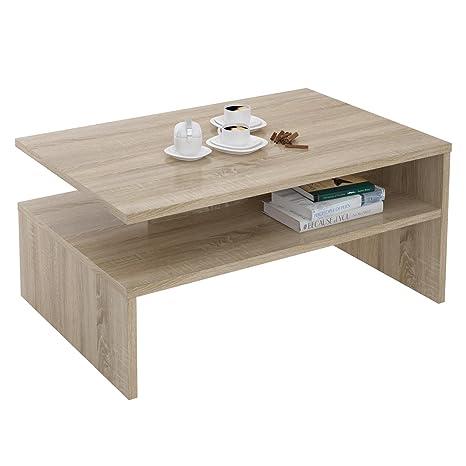 CARO-Möbel Couchtisch Wohnzimmertisch Sofatisch Paulina 90 x 60 cm in  Sonoma Eiche mit Ablagefläche