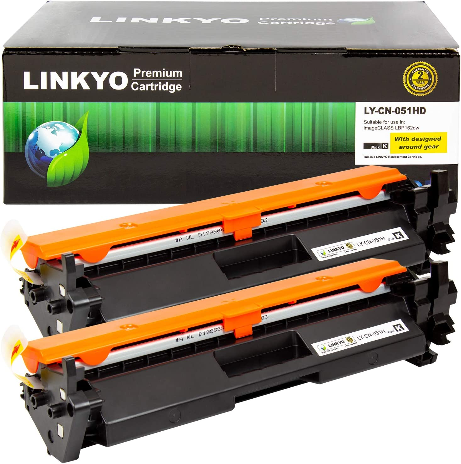 LINKYO Compatible Toner Cartridge Replacement for Canon 051H 051 High Capacity (Black, 2-Pack)