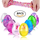 SLOUEASY - 8 Pack Full Colorful (Blue,Purple,Green,Yellow,Rose,Red,Pink,Clear) Soft Egg Slime Crystal Fluffy Slime Scented Stress Relief Slime Toys with Fruit Slices