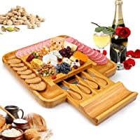 Bamboo Cheese Board Set With Cutlery In Slide-Out Drawer, Charcuterie Platter and Serving Meat Board, Cheese Tray…