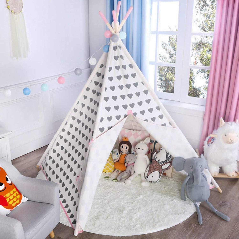 超話題新作 asweets 5壁インドアキャンバスTeepee Play B07FX56KG6 Play Tent for Kids with Carryケースピンクハート Tent B07FX56KG6, エムズファクトリー:058318a5 --- diceanalytics.pk
