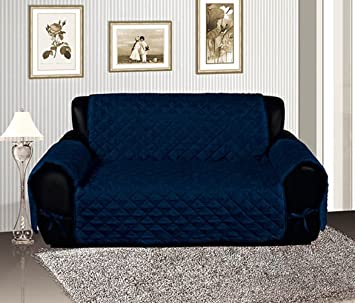 Amazoncom Navy Blue Quilted Micro Suede Pet Dog Furniture Sofa