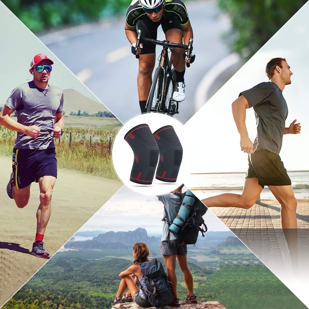 YUECHAO Genouill/ère de Compression Support de Genou r/églable Genouill/ère Brace 1 Paire pour Course /à Pied Marche Cyclism