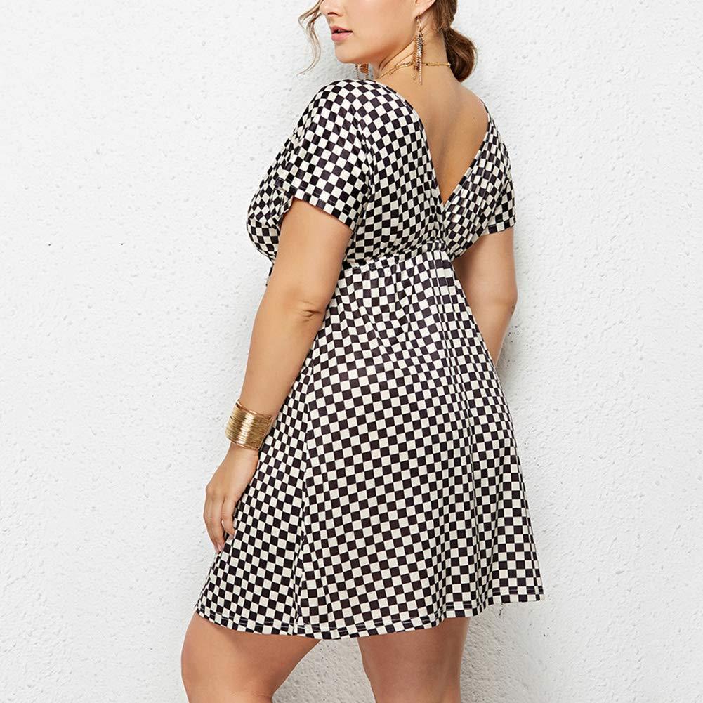 Lover-Beauty Women Mini Dress Deep V Neck Open Back Floral Short Sleeve High Waist Plus Size Dress
