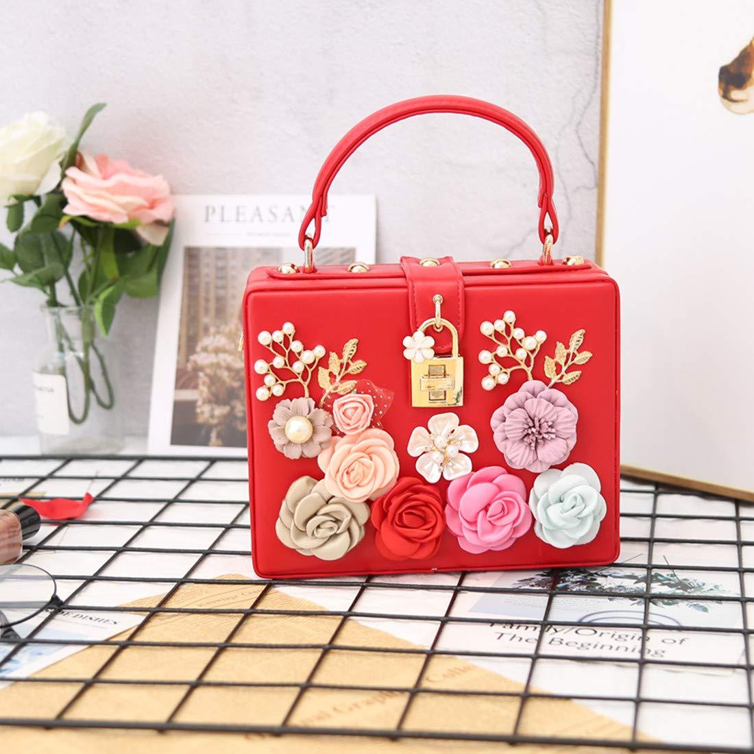 LETODE kvinnor blomma clutches kvällsväskor för bröllopsfest handväska handväska 8364-red