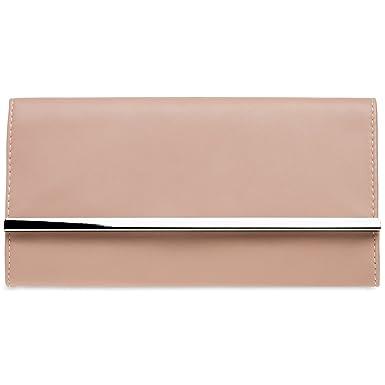 CASPAR TA418 Pochette de soirée métallique pour femme Sac de soirée baguette, Couleur:rose;Taille:One Size