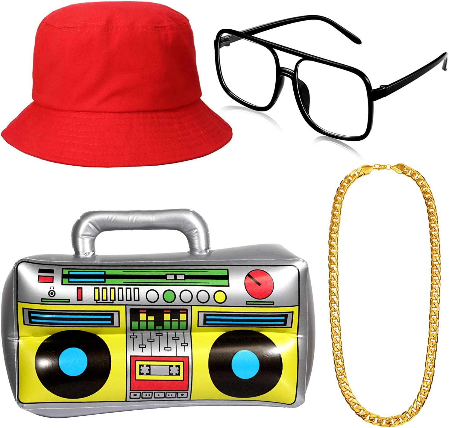 80s Costumes, Outfit Ideas- Girls and Guys Hip Hop Costume Kit Inflatable Boom Box Bucket Hat Sunglasses Gold Chain 80s/ 90s Rapper Accessories (Red) $15.99 AT vintagedancer.com