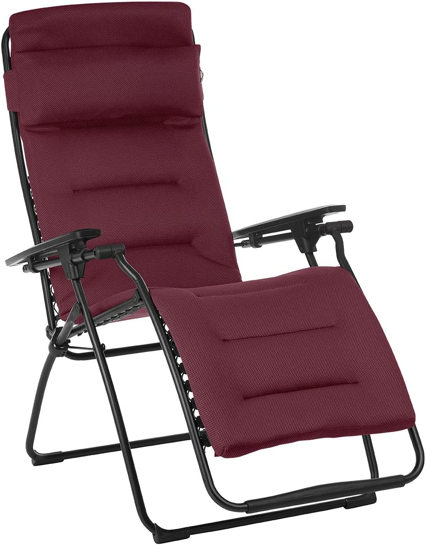 Lafuma Futura Air Comfort Zero Gravity Recliner Bordeaux Red Padded Folding Outdoor Reclining Chair