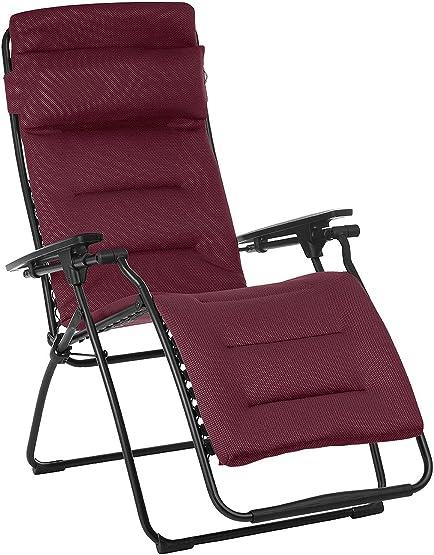 Lafuma Futura Air Comfort Zero Gravity Recliner Bordeaux Red Padded Folding Outdoor Reclining Chair