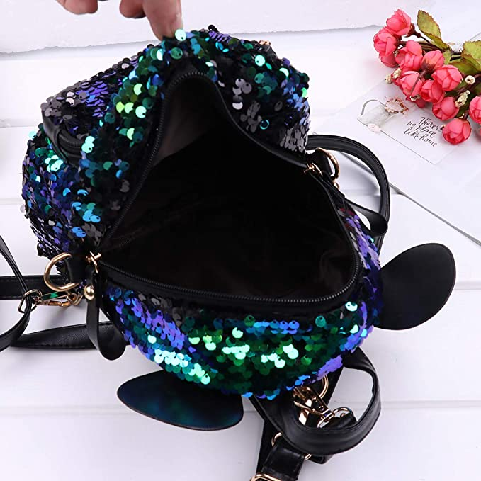 Amazon.com: CHICTRY Cute Glittery Sequins Shoulder Bag Small Bear Ear Backpack Satchel Schoolbag Outdoor Travel Casual Daypack for Kids Girls Green One ...