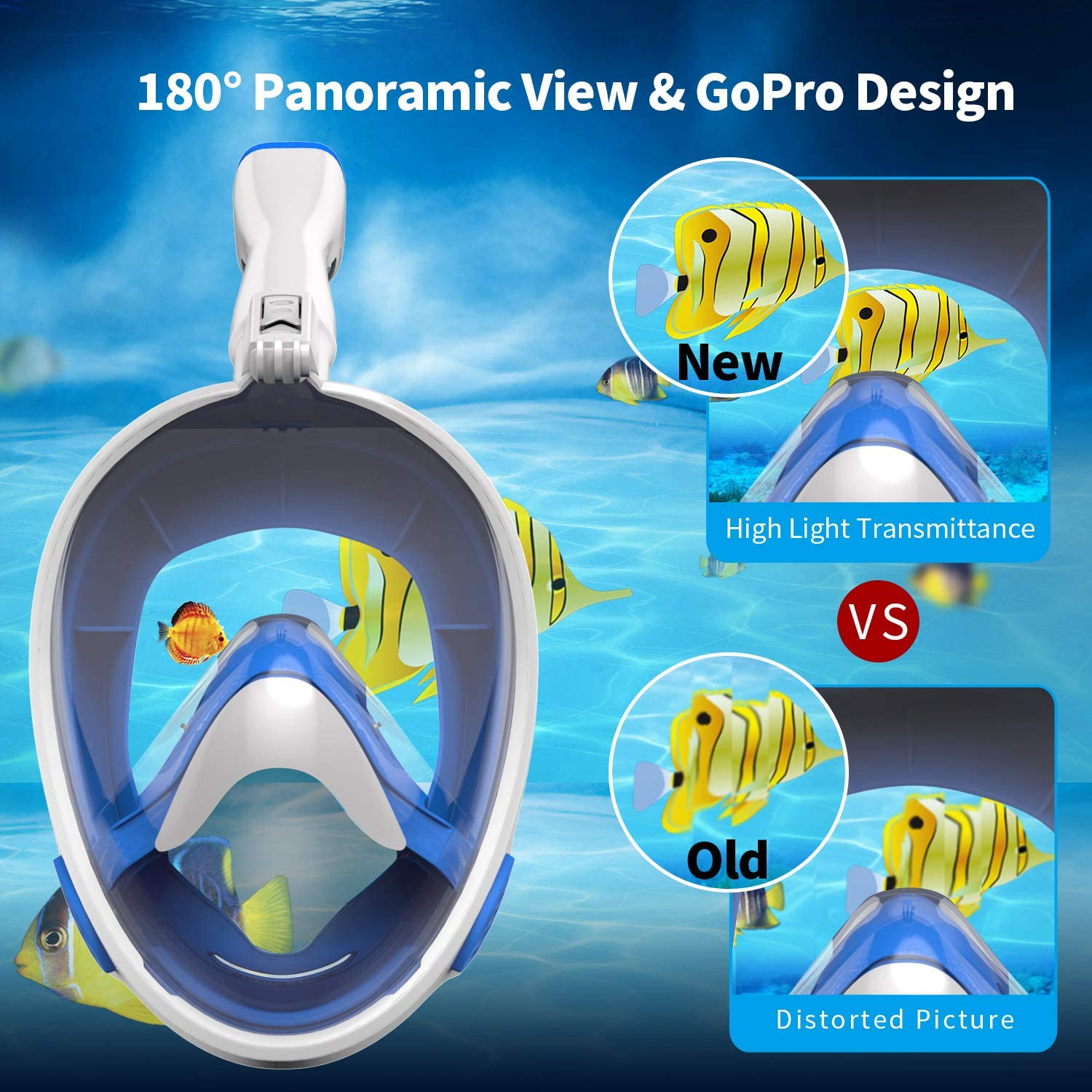 Detachable Camera Mount 180/°Panoramic Larger View Snorkel Set Anti-Fog Anti-Leak Aegend Kids Full Face Snorkel Mask with Upgraded Safety Breathing System
