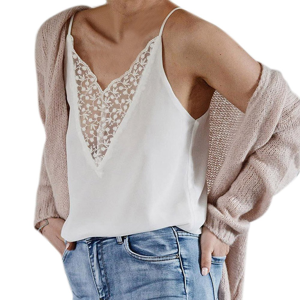 Wugeshangmao Camisole for Women Summer Lace Patchwork V-Neck Vest Tank Tops Blouses Teen Girls Fashion Shirt White