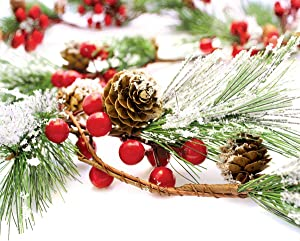 Christmas Garland Winter Red Berries Holiday Decoration Pine Cones, Evergreen Pine Needle – Unlit Berry Garlands Xmas Decor, Kitchen, Bar, Fireplace/Indoor/Outdoor Greenery with Snow 6 Ft Long (6ft)