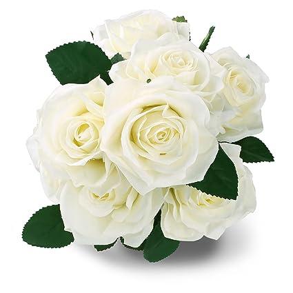 Amazon soledi silk rose white 10 heads artificial flower french soledi silk rose white 10 heads artificial flower french rose fake for bridal bouquet wedding living mightylinksfo