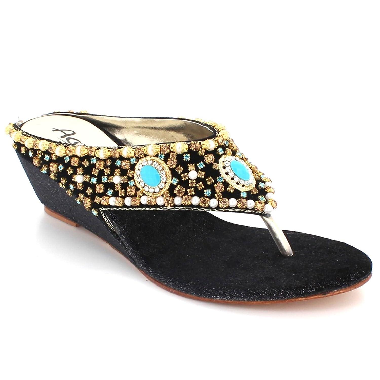2bcaab8f Mujer Señoras Cristal Diamante Toe-Post Noche Boda Fiesta Paseo Nupcial  Comodidad bajo Cuña Tacón Ponerse Negro Sandalias Zapatos tamaño 37:  Amazon.es: ...