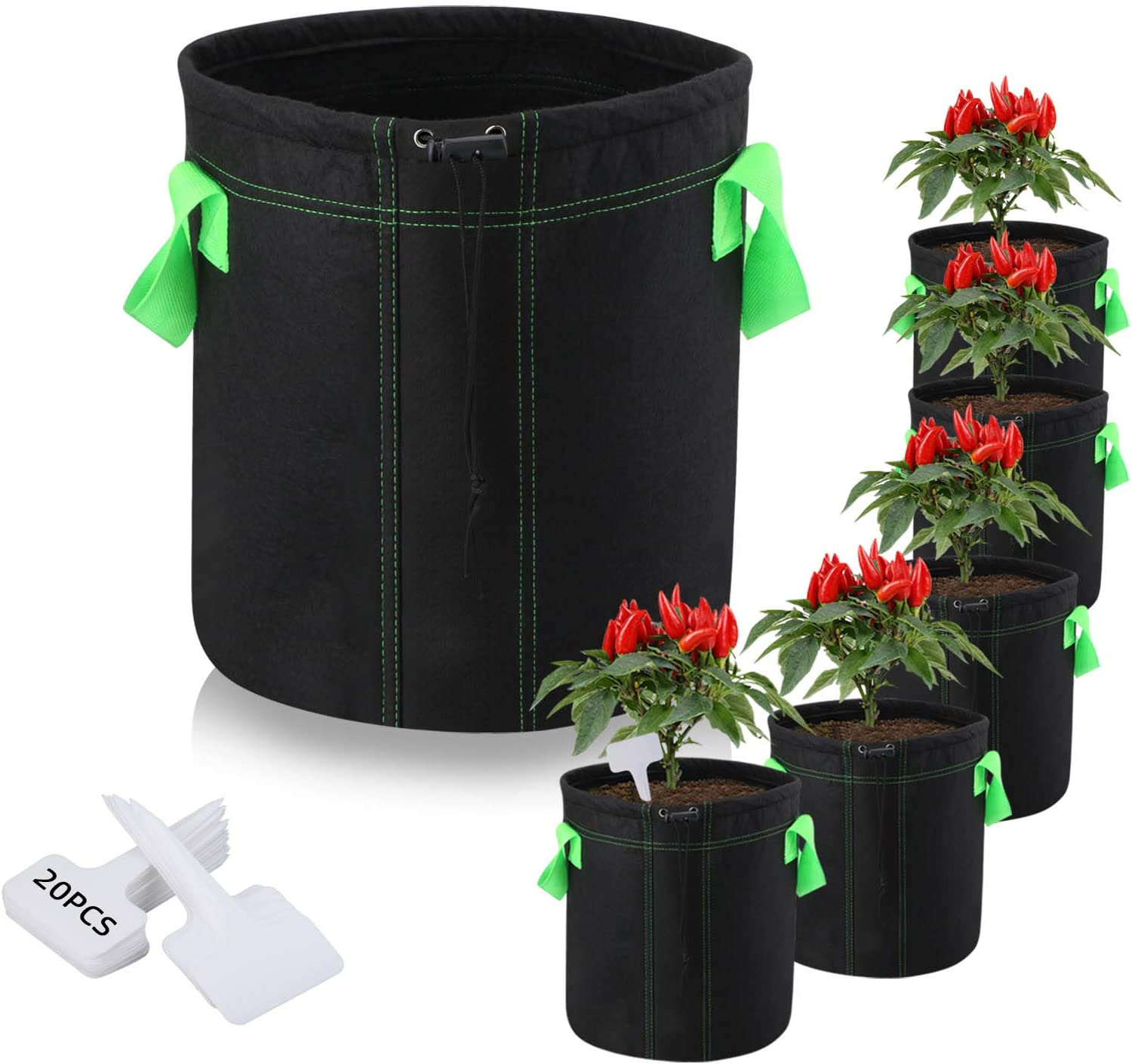 [New Version]6-Pack 5 Gallon Plant Grow Bags, Premium Aeration Nonwoven Cloth Fabric Grow Bags with Sturdy Handle and Shrink String, Flowers/Vegetable Pots Container for Nursery Garden Planting