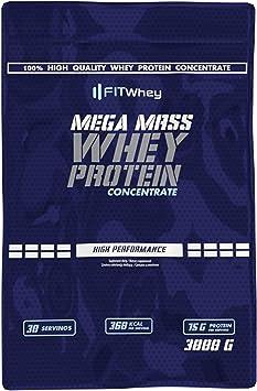 FITWHEY MEGA MASS WHEY PROTEIN 3kg Hidrato Proteina Volumen ...