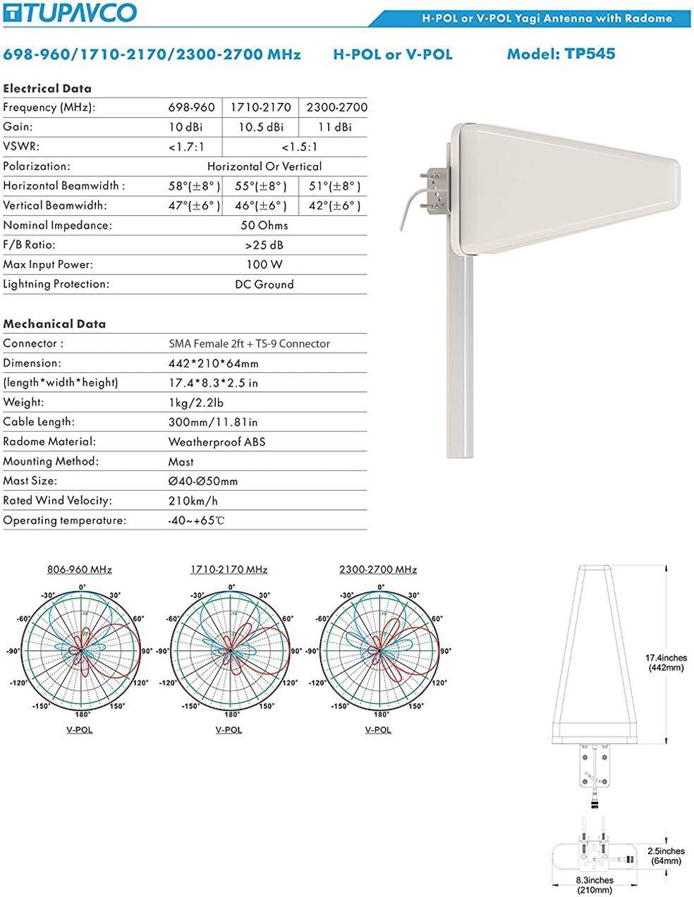 Tupavco TP545 Yagi direccional Roof Antena 3G 4G LTE Wide Band 11dBi 2FT Cable w Hombre Cable 2FT RP-SMA a TS-9 Adaptador señal del teléfono Celular ...