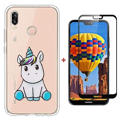 Laixin Funda para Huawei P20 Lite Transparente Carcasa TPU Silicona Case Cover [Anti-arañazos] Cristal Bumper + Protectore de Pantalla, Unicornio Azul