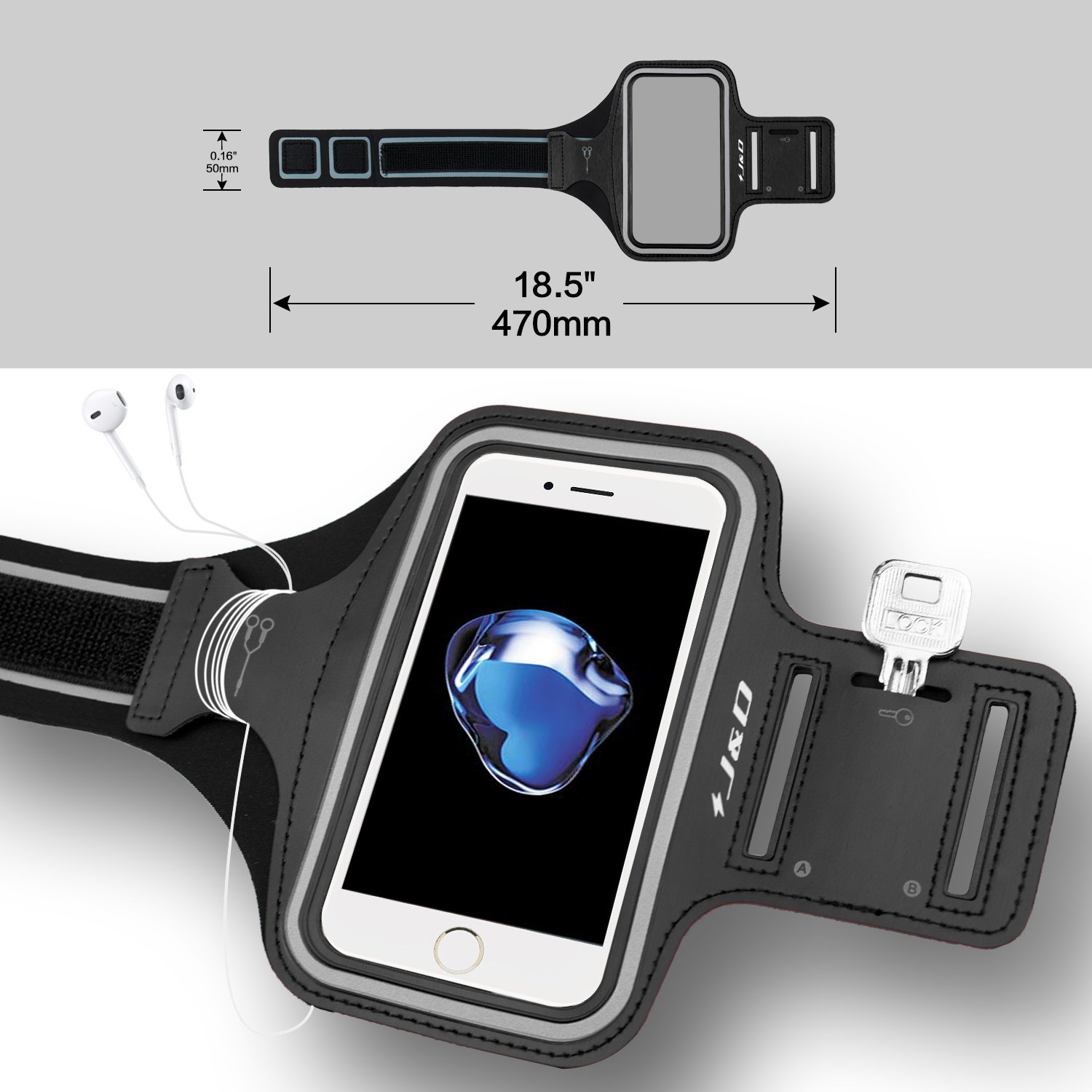 J/&D Armband Compatible for iPhone 7 Plus Armband Black Perfect Earphone Connection while Workout Running Sports Armband with Key holder Slot for Apple iPhone 7 Plus Running Armband