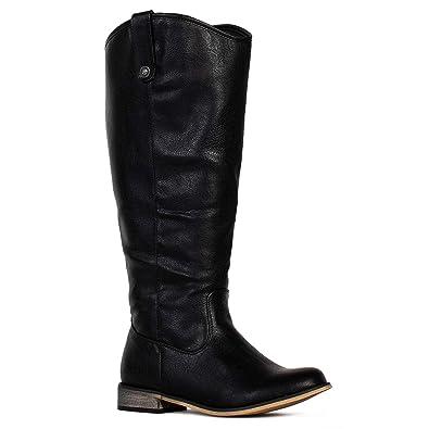 5bd15879f83c5 RF ROOM OF FASHION Women's Wide Calf Western Knee High Low Heel Riding Boots  Black-