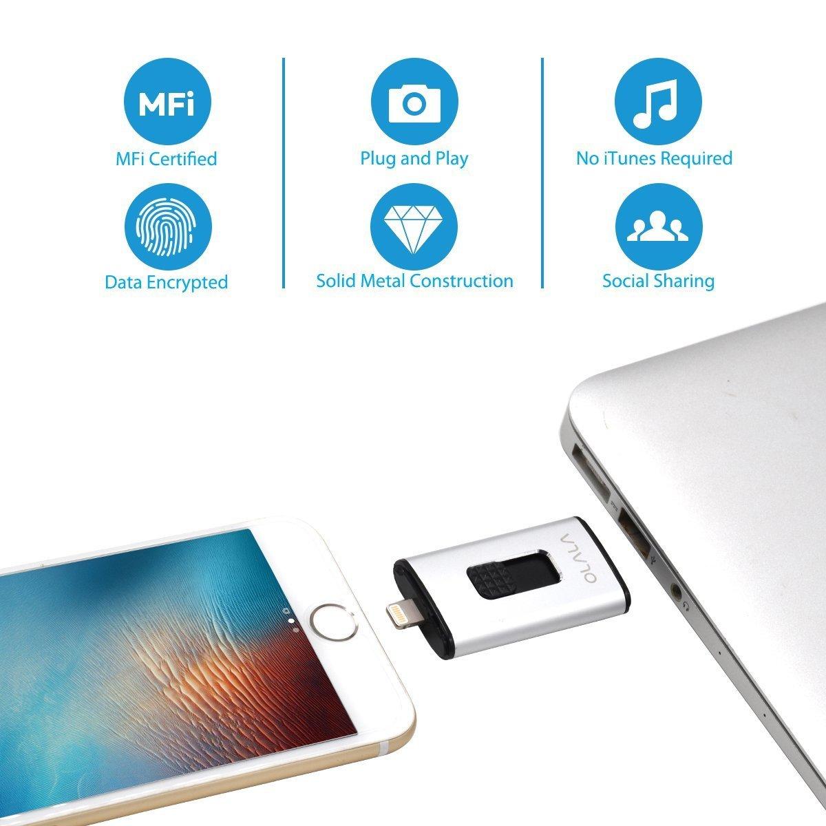 iPhone Lightning Flash Drive, OLALA 32GB USB 3.0 Memory Stick Thumb Pen Drive Jump Drive IOS External Storage Expansion for iPhone iPad Mac iOS PC Laptops[Apple MFI Certified] (Silver)