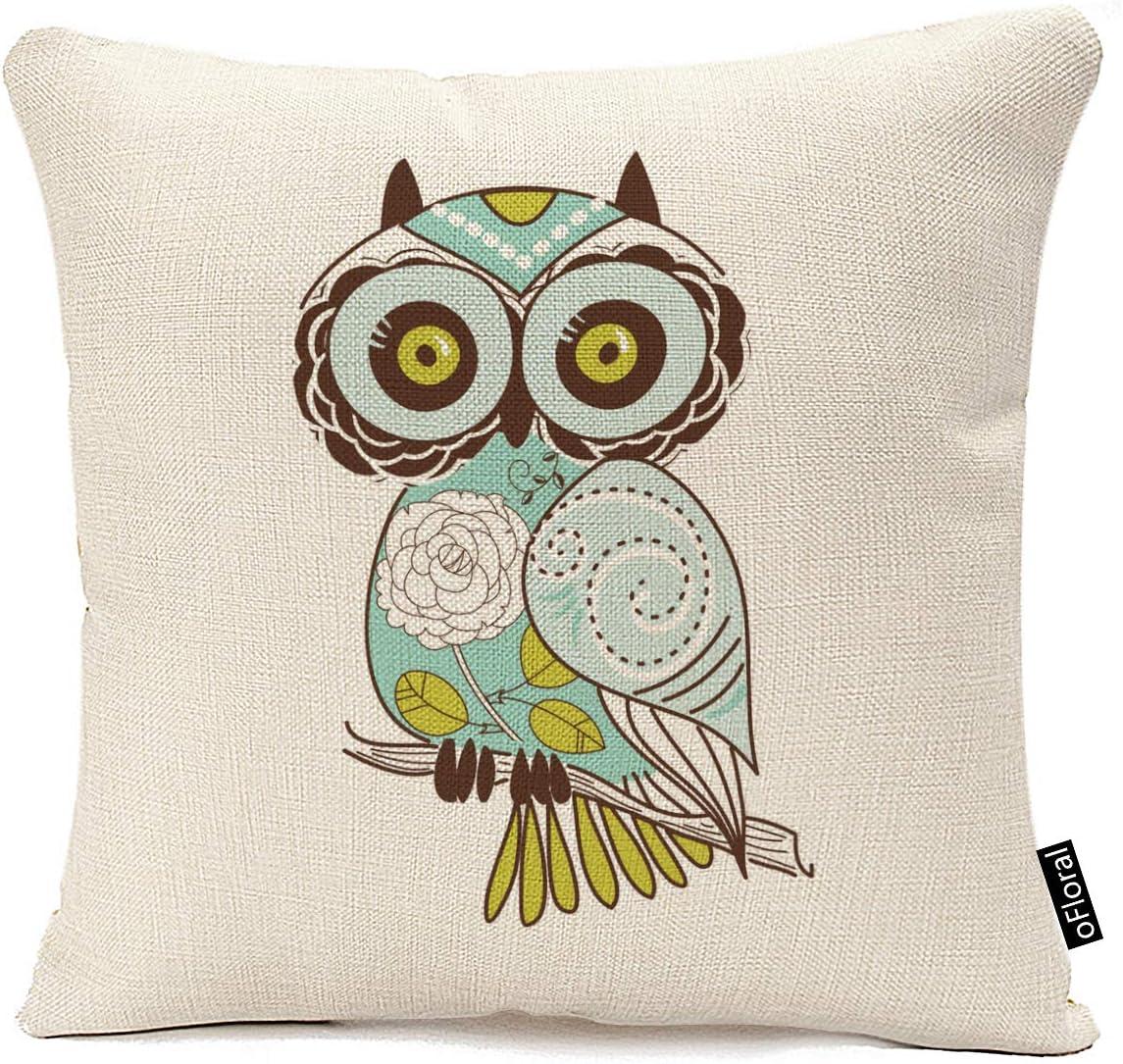 Amazon Com Ofloral Square Decorative Throw Pillow Case Cushion Cover Cartoon Green Cute Cartoon Owl 18 X18 Cotton Linen Home Sofa Pillow Cover Home Kitchen