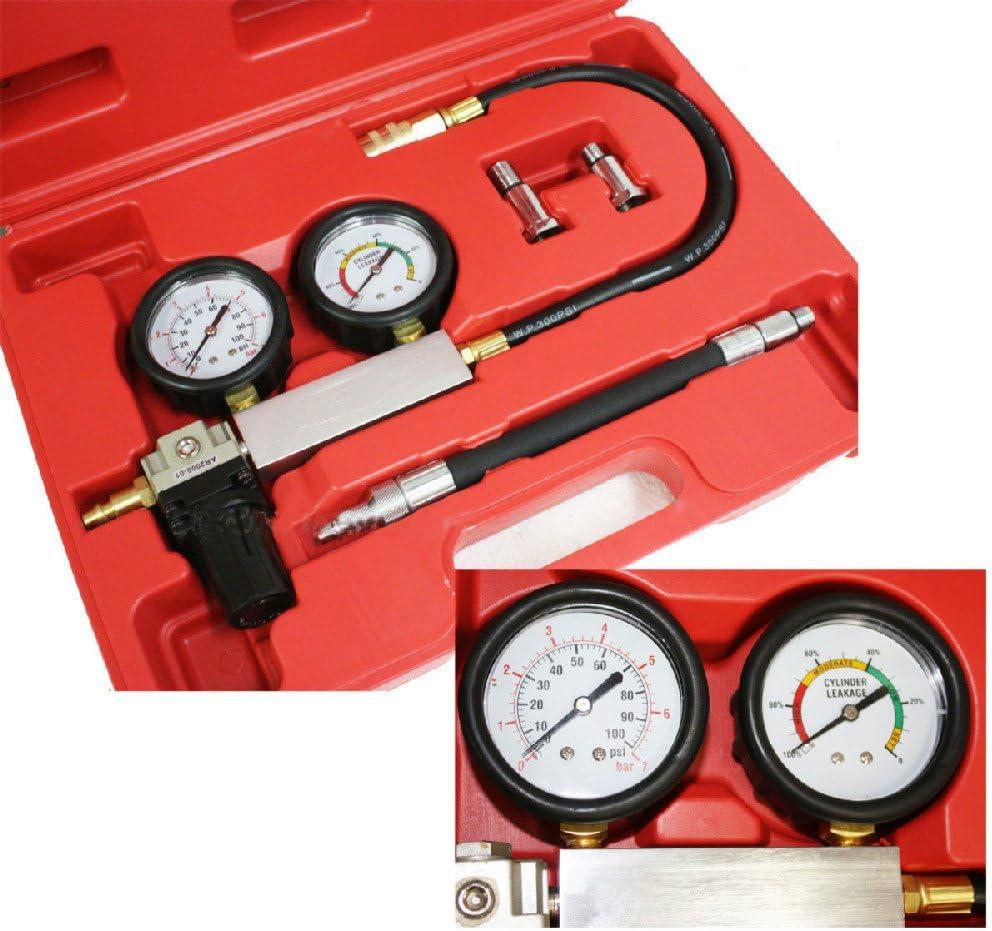 Car Engine Cylinder Leak down Tester Tools Dual Gauge Diagnostic Kit
