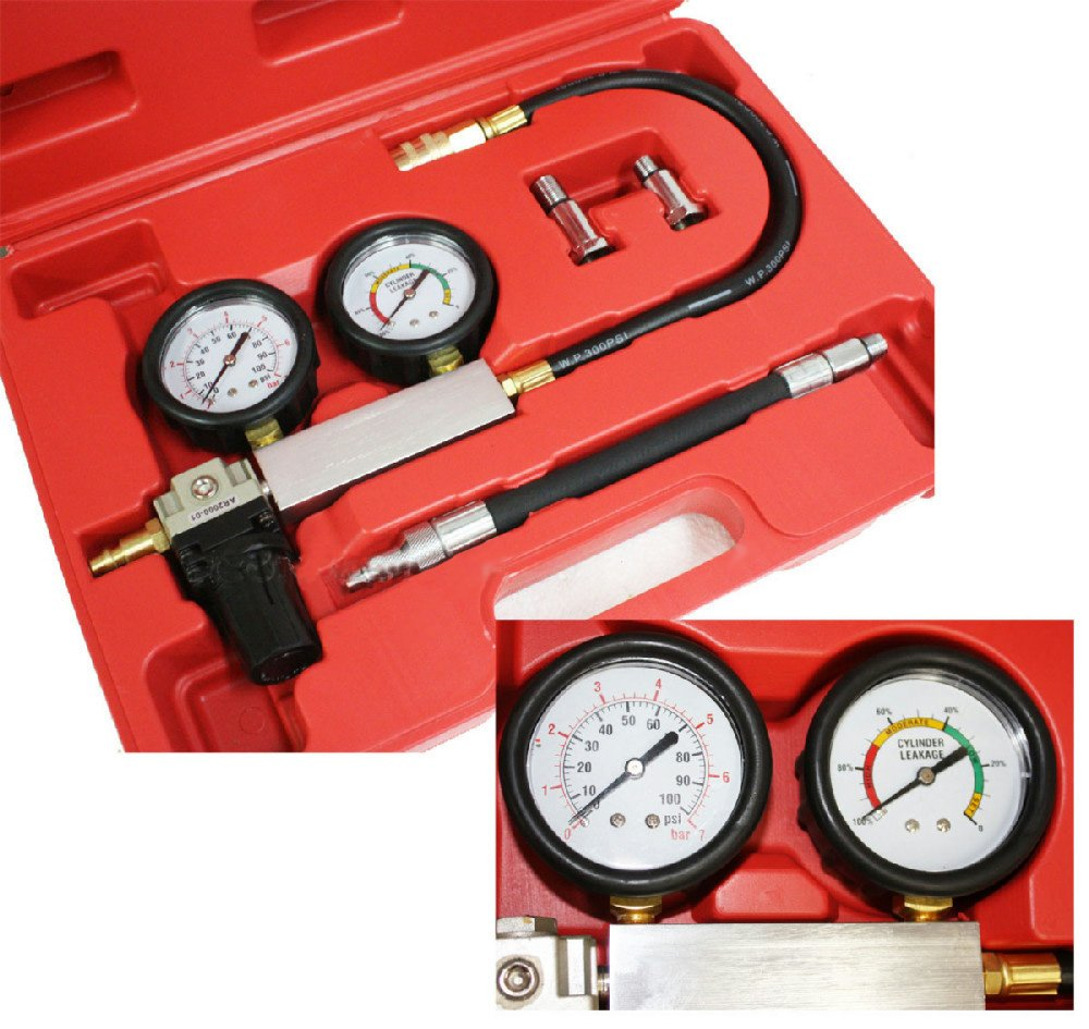 Engine Cylinder Leakdown Tester Dual Gauge Diagnostic Kit for Imports Domestic by PMD Products (Image #1)
