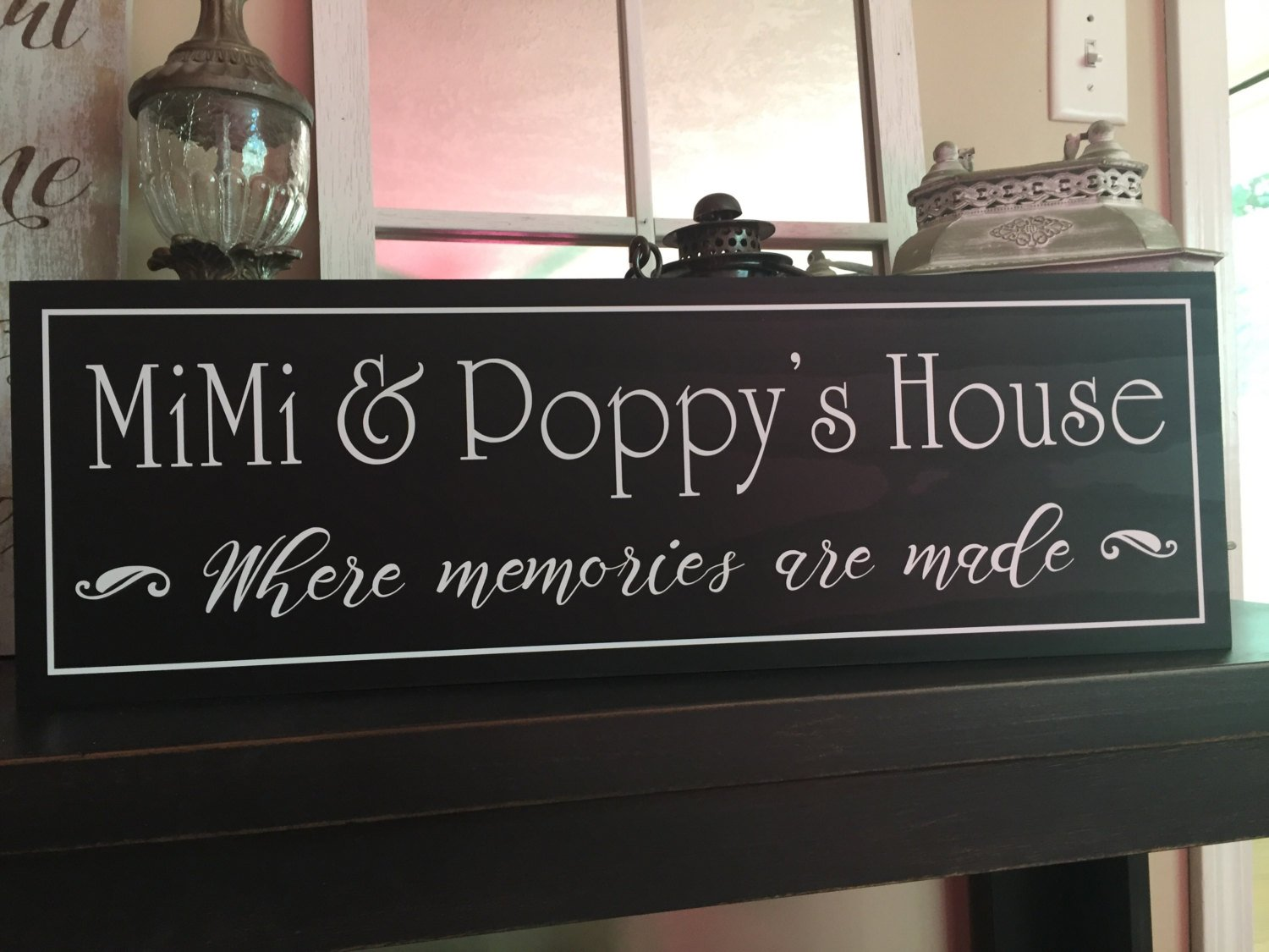 Amazoncom Mimi Poppy Wood Sign Signs Grandparent Gifts Grandmother