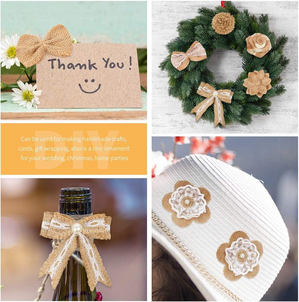 9 Styles pour D/écoration de F/ête Mariage Bricolage Arts Craft Toile de Jute Dentelle Fleurs avec Perles Fleurs de Rose en Toile deJute Pajaver 27 Pcs Fait Main en Toile de Jute Naturel Fleurs